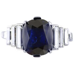2.99 Carat Cushion Cut Certified Untreated Sapphire Platinum Art Deco Ring
