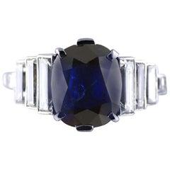 2.99 Karat Cushion Cut Certified Untreated Saphir Platinum Art Deco Ring