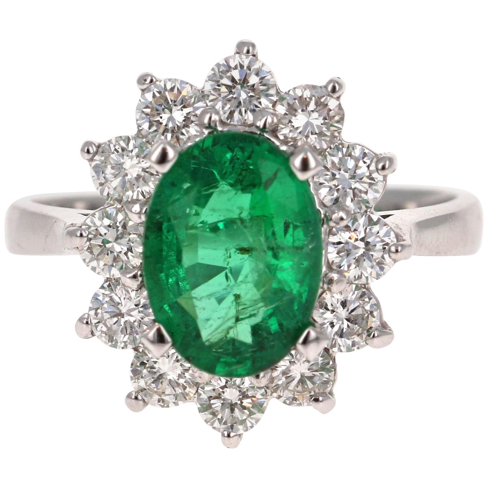 2.99 Carat Emerald Diamond 18 Karat White Gold Engagement GIA Certified Ring