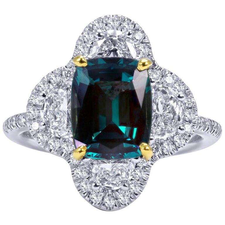 Mark Henry 2.99 Carat Natural Brazilian Alexandrite and Diamond Ring, 18 Karat For Sale