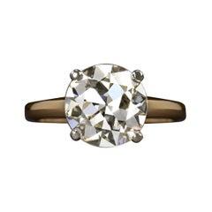 Art Deco 2.99 Carat Old Cut Diamond Ring