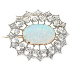2.99 Carat Opal and Diamond Yellow Gold Brooch Antique Victorian