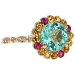 2.99 Carat Round Cut Apatite Sapphire Diamond 14 Karat Yellow Gold Ring