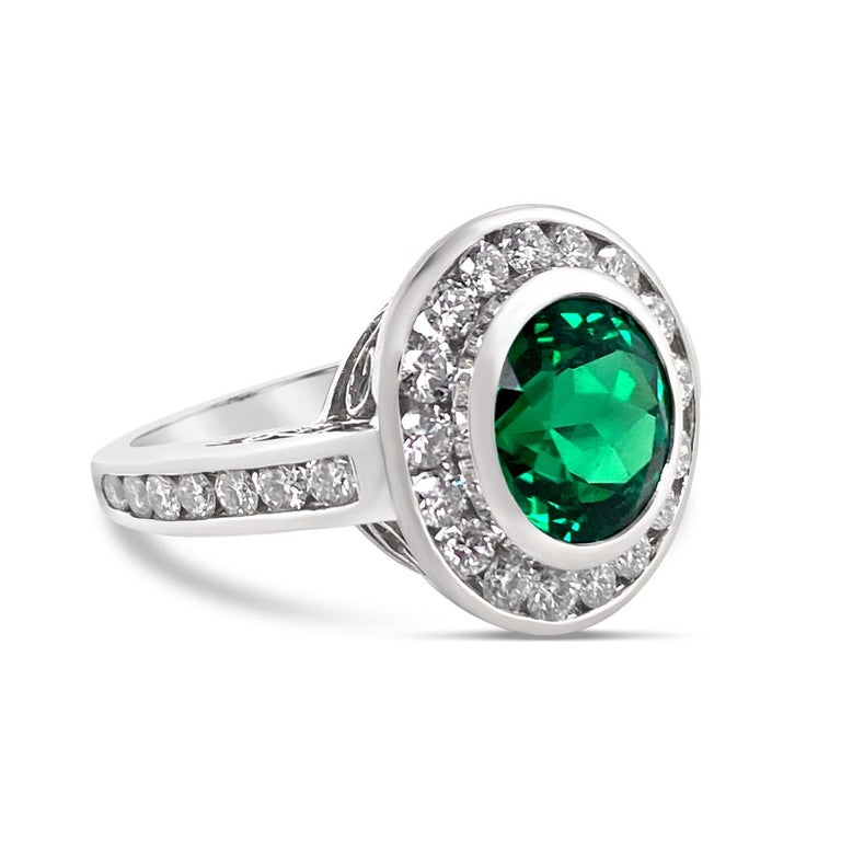 Round Cut 2.99 Carat Vivid Green Emerald and Diamond Ring in Platinum For Sale
