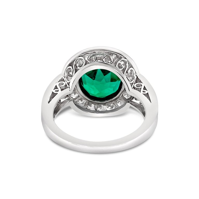 Women's 2.99 Carat Vivid Green Emerald and Diamond Ring in Platinum For Sale