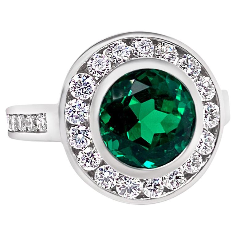 2.99 Carat Vivid Green Emerald and Diamond Ring in Platinum For Sale