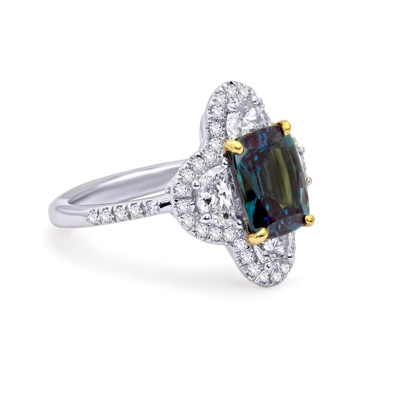An alexandrite is prized for its natural ability to shift colors from a vibrant bluish-green under daylight to an alluring reddish-purple under incandescent light. As the Russian source depleted centuries ago, new sources have been discovered