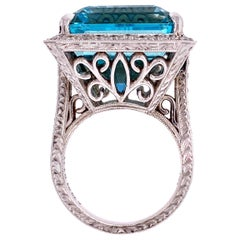 29.93 Carat Aquamarine and Diamond Gold Cocktail Ring Estate Fine Jewelry