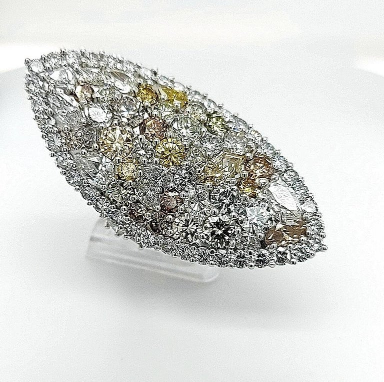 Contemporary 29.99 Carat Diamond, 18 Karat White Gold, Earrings, Cocktail Ring, Set For Sale
