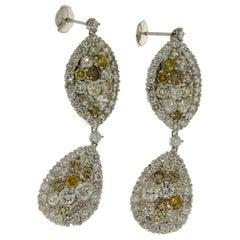 29.99 Carat Diamond, 18 Karat White Golden, Earrings, Cocktail Ring, Set