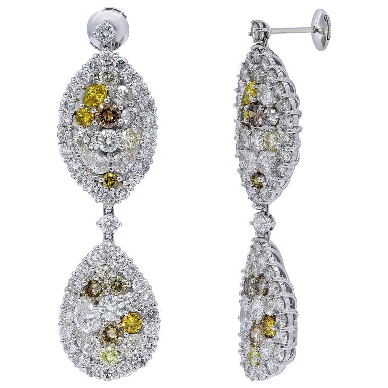 29.99 Carat Diamond, 18 Karat White Gold, Earrings, Cocktail Ring, Set For Sale