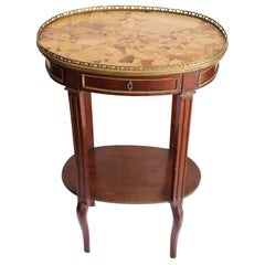 19th Century Napoleon III Mahogany with Gilded Bronzes Oval Side Table