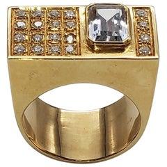2 Carat Aquamarine and Diamond Gold Ring
