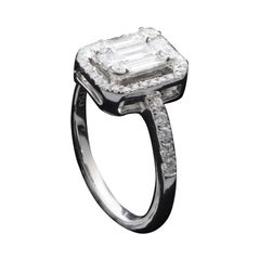 2ct Emerald Cut Diamond Illusion Engagement Ring Set in 18kt Gold