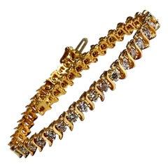 2ct Natural Fancy Light Brown Diamonds Classic S Tennis Bracelet 14kt
