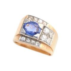 2Ct Sapphire Diamonds 18 Karat Gold Platinum Ring, 1948
