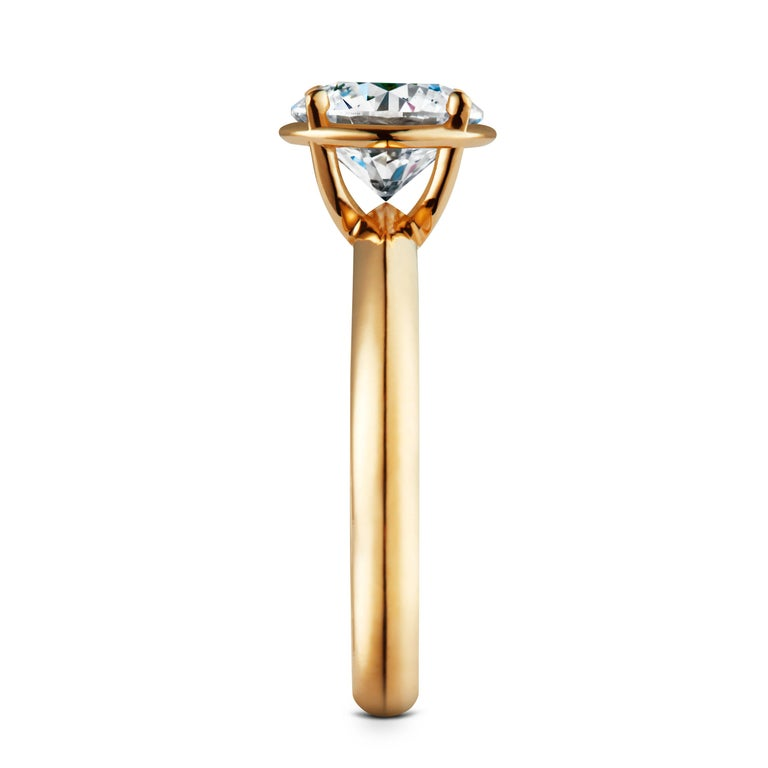Contemporary 2 Carat Solitaire Traceable Diamond Ring In 18k Yellow Gold By Rocks For Life For Sale