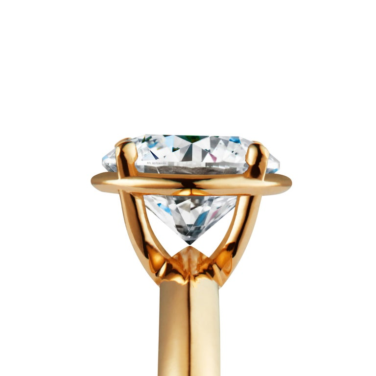 Brilliant Cut 2 Carat Solitaire Traceable Diamond Ring In 18k Yellow Gold By Rocks For Life For Sale