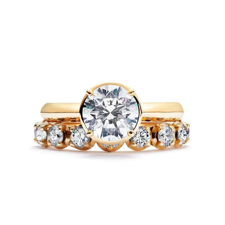 2 Carat Solitaire Traceable Diamond Ring In 18k Yellow Gold By Rocks For Life In New Condition For Sale In Haddonfield, NJ