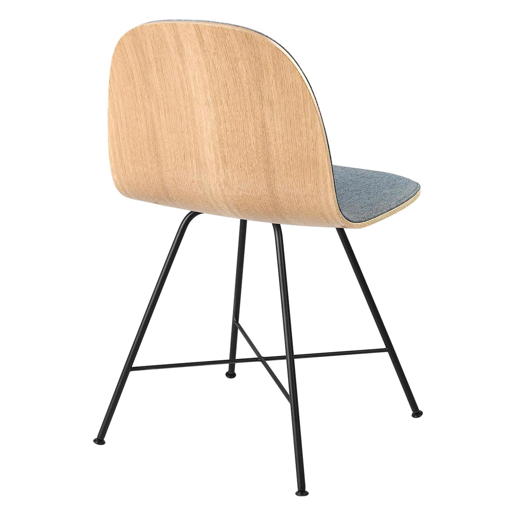2D Dining Chair, Front-Upholstered, Center Base, Walnut