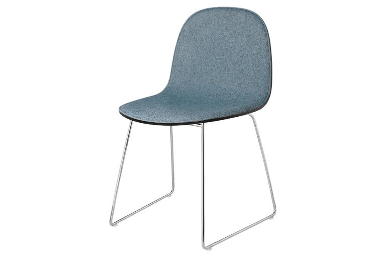 Mid-Century Modern 2D Dining Chair - Front-Upholstered - Sledge Base For Sale