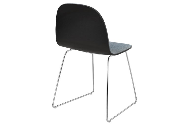Polished 2D Dining Chair - Front-Upholstered - Sledge Base For Sale