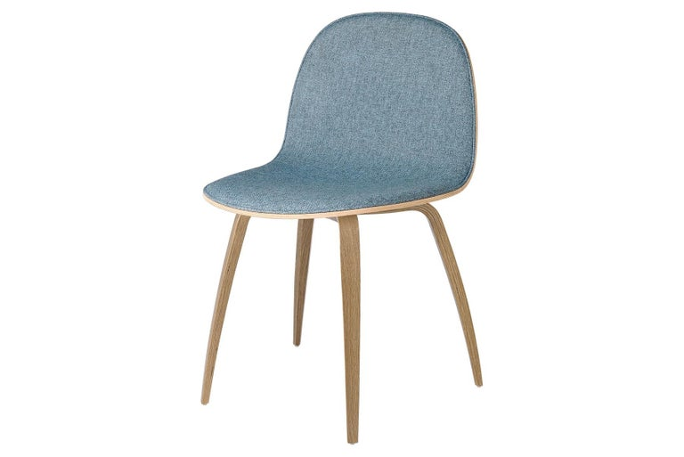 Mid-Century Modern 2D Dining Chair, Front-Upholstered, Wood Base For Sale