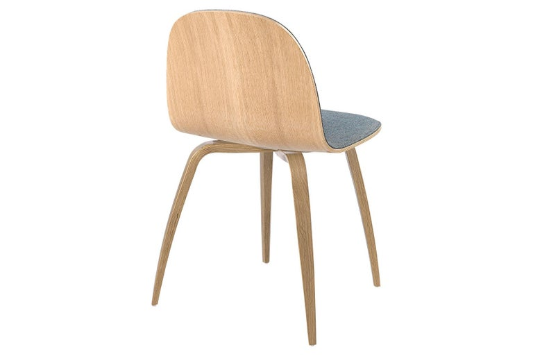 Danish 2D Dining Chair, Front-Upholstered, Wood Base For Sale