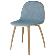 2D Dining Chair, Front-Upholstered, Wood Base