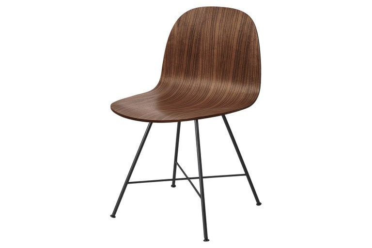 Mid-Century Modern 2D Dining Chair, Un-Upholstered, Center Base  For Sale