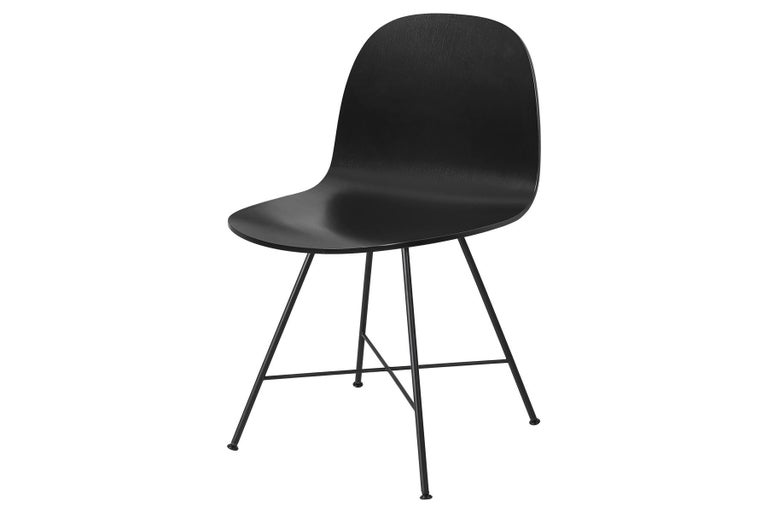 Polished 2D Dining Chair, Un-Upholstered, Center Base  For Sale