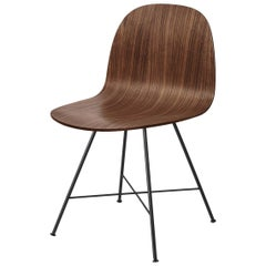 2D Dining Chair, Un-Upholstered, Center Base, Walnut