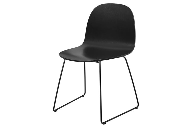 Mid-Century Modern 2D Dining Chair, Un-Upholstered, Sledge Base  For Sale
