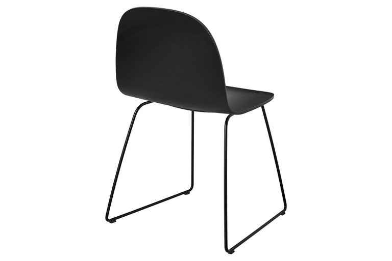 Danish 2D Dining Chair, Un-Upholstered, Sledge Base  For Sale