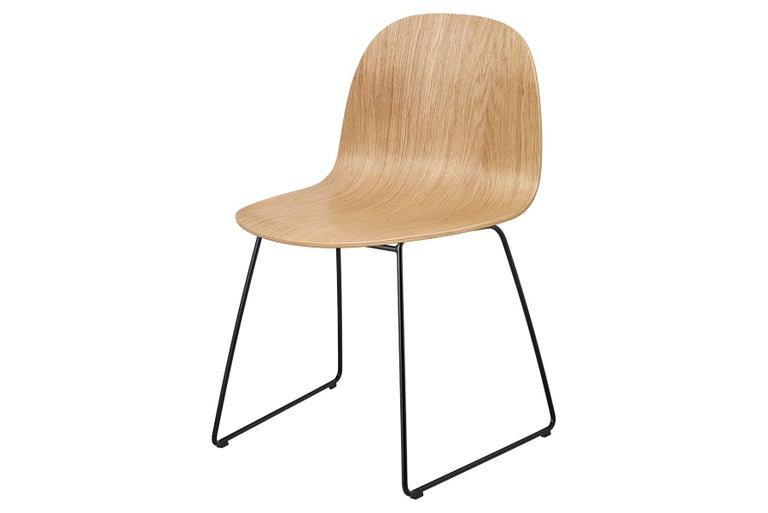 Polished 2D Dining Chair, Un-Upholstered, Sledge Base  For Sale