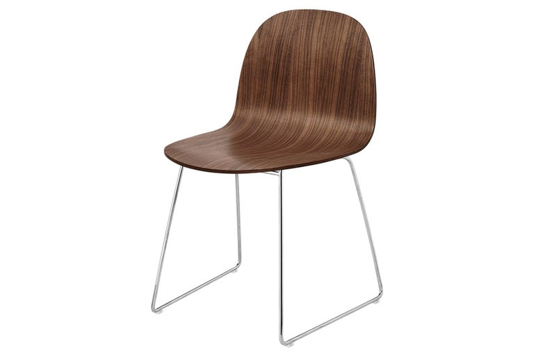 Contemporary 2D Dining Chair, Un-Upholstered, Sledge Base  For Sale