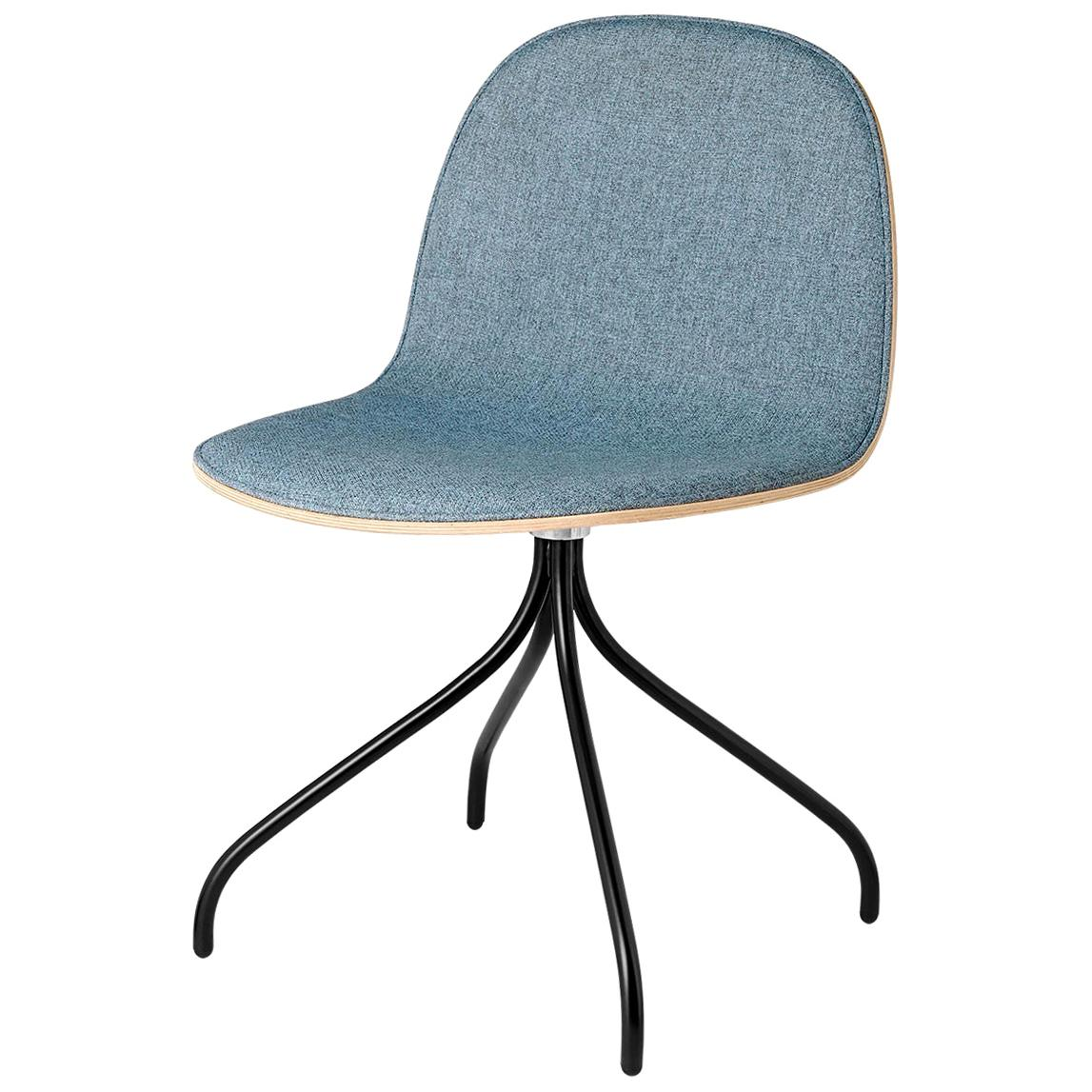 2D Meeting Chair, Front Upholstered, Black Swivel Base, Natural Oak