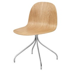 2D Meeting Chair, Un Upholstered, Chrome Swivel Base, Natural Oak