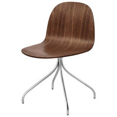 2D Meeting Chair, Un Upholstered, Chrome Swivel Base, Walnut