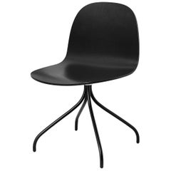 2d Meeting Chair, Un Upholstered, Matte Black Swivel Base, Stained Beach