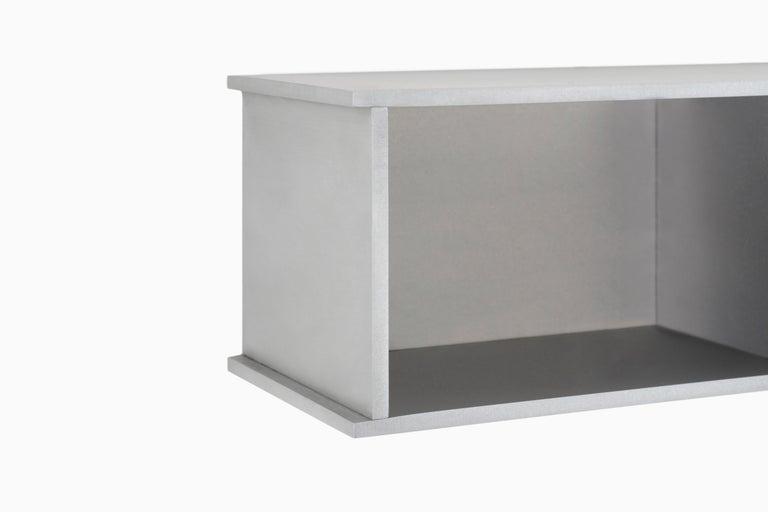 Minimalist 2G Shelf XS Wall-Mounted Entry Shelf in Waxed Aluminum Plate by Jonathan Nesci For Sale