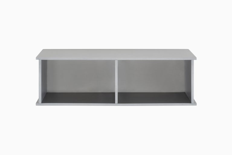 Contemporary 2G Shelf XS Wall-Mounted Entry Shelf in Waxed Aluminum Plate by Jonathan Nesci For Sale
