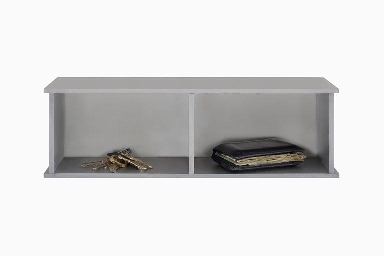 2G Shelf XS Wall-Mounted Entry Shelf in Waxed Aluminum Plate by Jonathan Nesci For Sale 1