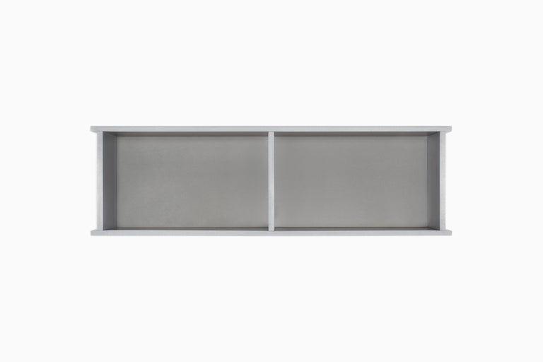 2G Shelf XS Wall-Mounted Entry Shelf in Waxed Aluminum Plate by Jonathan Nesci For Sale 2