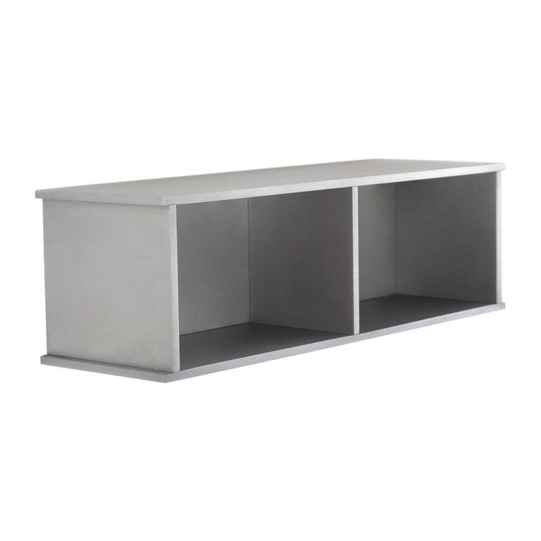 2G Shelf XS Wall-Mounted Entry Shelf in Waxed Aluminum Plate by Jonathan Nesci For Sale