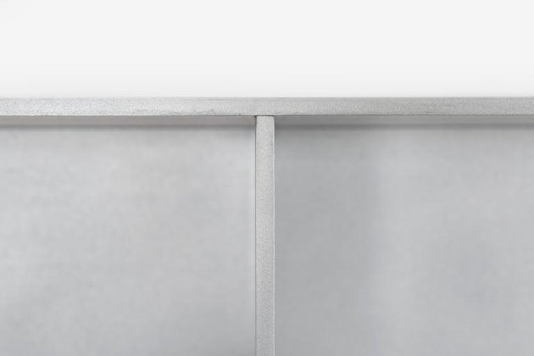 Minimalist 2G Wall-Mounted Shelf in Waxed Aluminum Plate by Jonathan Nesci For Sale