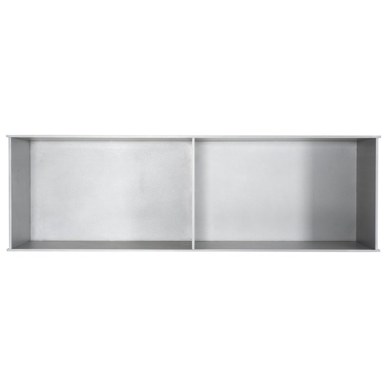 2G Wall-Mounted Shelf in Waxed Aluminum Plate by Jonathan Nesci For Sale