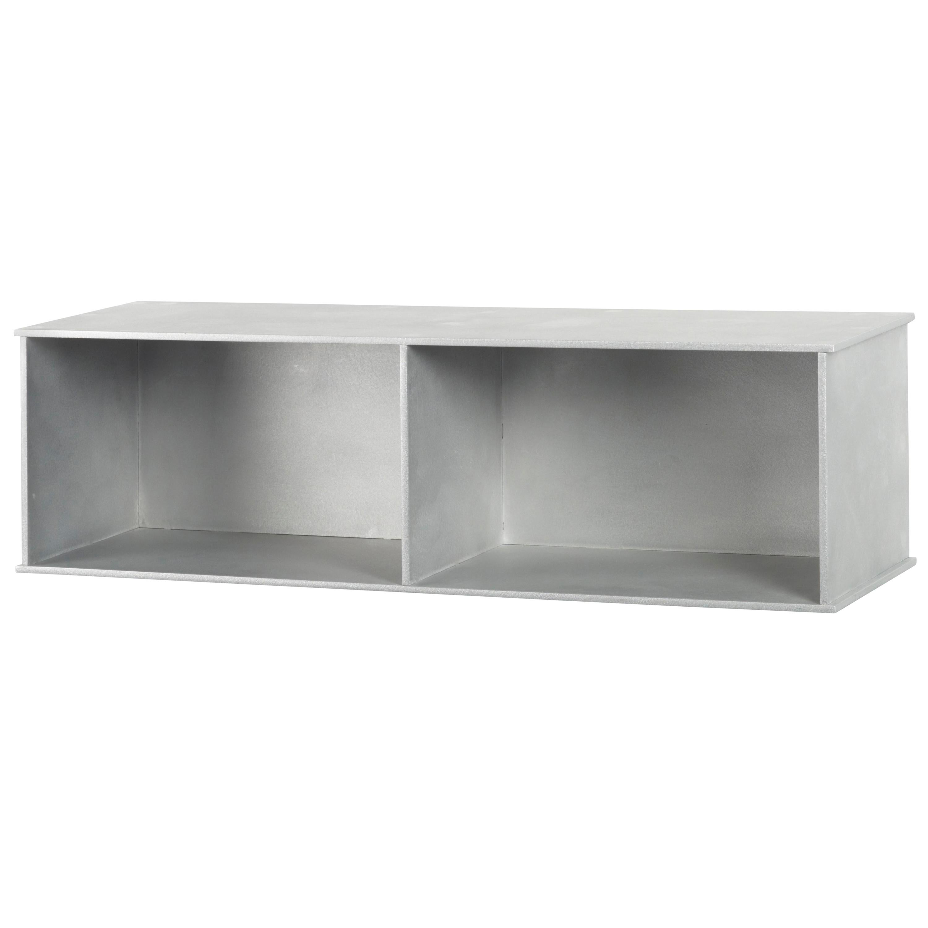 2G Wall Shelf in Waxed and Polished Aluminum Plate by Jonathan Nesci