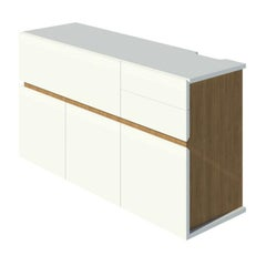 2K1M Grooves Bar Cabinet Modern, High Gloss Lacquer and Oak Finish Made in Italy