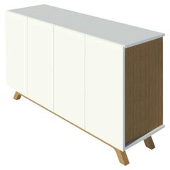 2K1M Grooves Credenza, High Gloss Lacquer and Oak Finish, Made in Italy